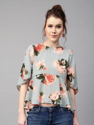 Sassafras Casual Short Sleeve Floral Print Women Blue, Pink Top