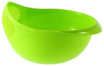 Flynn Kitchen Fruit Vegetable Rice Washing Strainer Bowl Storage Basket Plastic Bowl(Green, Pack of 1)  available at flipkart for Rs.149