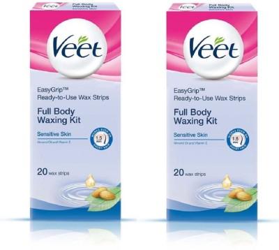 Veet Full Body Waxing Kit Sensitive (Pack of 2) Strips(82 g)