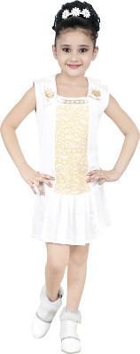 LILY WORLD Girls Mini/Short Party Dress(Gold, Sleeveless)