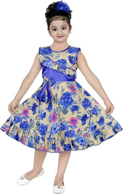 N BAHUBALI Girls Midi/Knee Length Casual Dress(Blue, Sleeveless)