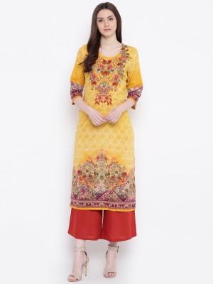 Shree Women Printed Straight Kurta(Yellow)