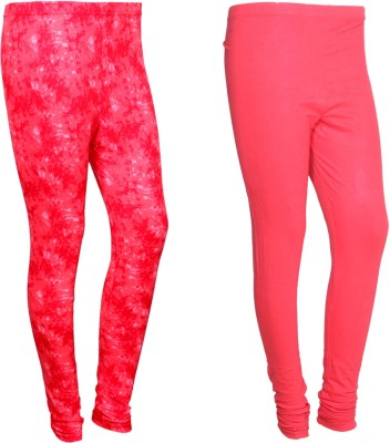 Indistar 1 Solid and 1 Printed Ankle Length Legging For Girls Pack of 2