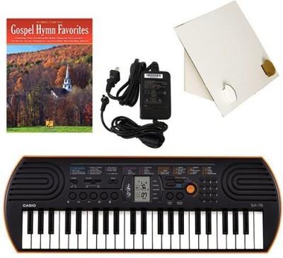 Generic Casio Sa-76 44 Key Mini Keyboard Deluxe Bundle Includes Bonus Casio Ac Adapter, Desktop Music Stand & Gospel Hymn Favorites Begi(Multicolor)  available at flipkart for Rs.17339
