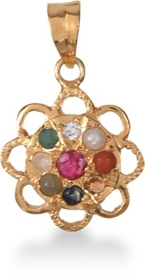 ValaGo 18k Gold Plated Navratna Pendant For Unisex 18K Yellow Gold Sapphire, Ruby, Emerald, Cat