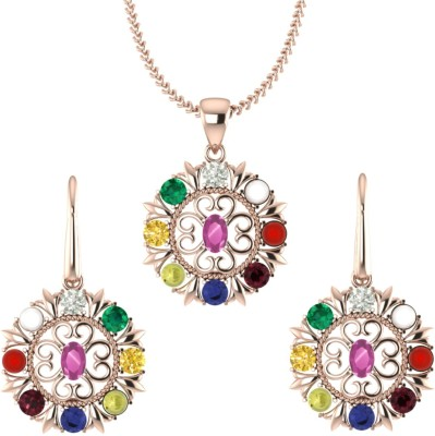 ValaGo Rose Gold Navratna Pendant Set For Unisex 18K Yellow Gold Sapphire, Ruby, Emerald, Cat