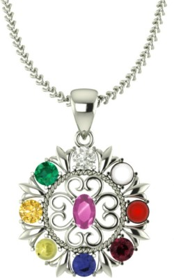 ValaGo 92.5 Sterling Silver Navratna Pendant For Unisex Rhodium Sapphire, Ruby, Emerald, Cat