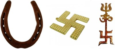 Sahaya Combo of HorseShoe ( Kale Ghode ki Naal) , Swastik Pyramid Yantra and Trishakti Wall hanging Showpiece  -  10 cm(Alloy, Multicolor)  available at flipkart for Rs.185