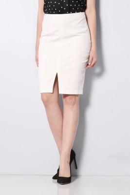 Van Heusen Self Design Women Regular White Skirt