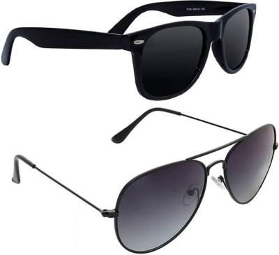 DEIXELS Wayfarer, Aviator Sunglasses(Black, Violet)