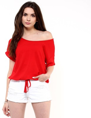 PANNKH Casual Short Sleeve Solid Women Red Top PANNKH Women's Tops