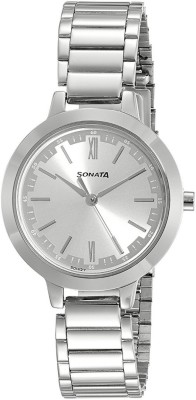 Sonata 8141SM02 Steel Daisies Analog Watch For Women