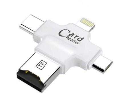 ClicKart 4 in1 Memory Card Reader Card Reader(Silver)
