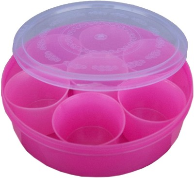 kotak sales Round Plastic Spice Box Masala Dabba Spices, Pickels Herbs Transparent Organizer Carrier Storage Container (Any One)  - 0 ml Plastic Grocery Container(Pink)  available at flipkart for Rs.295