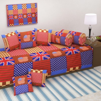 WI International Polycotton Geometric Diwan Set  available at flipkart for Rs.369