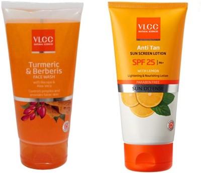 VLCC Original Turmeric&Berberis Face Wash & Anti Tan Sun Screen Lotion SPF25...