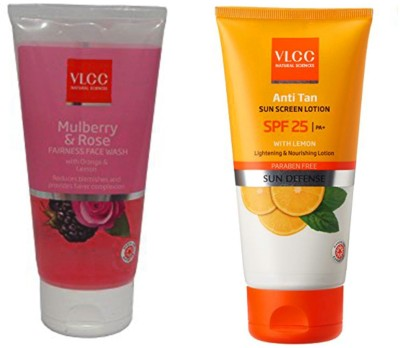 VLCC Original Mulberry&Rose Face Wash and Anti Tan Sun Screen Lotion SPF25...