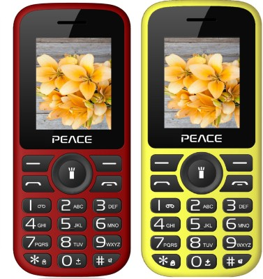 Peace P4 Combo of Two Mobiles(Red $$ Black & Yellow $$ Black)