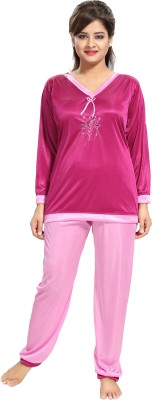 Noty Women Embroidered Pink Top & Pyjama Set