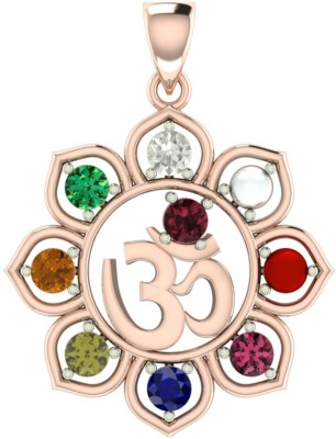 ValaGo Rose Gold Navratna Om Pendant For Unisex 18K Yellow Gold Sapphire, Ruby, Emerald, Cat