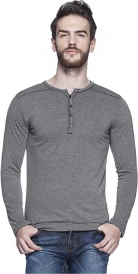LEWEL Solid Men's Henley Grey T-Shirt
