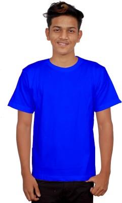 iTRENDII Solid Men's Round Neck Dark Blue T-Shirt