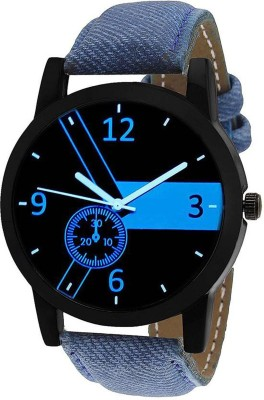 LEBENSZEIT New Look Fashionable Stylish Blue chronograph Leather Men Watch Watch  - For Boys  available at flipkart for Rs.135