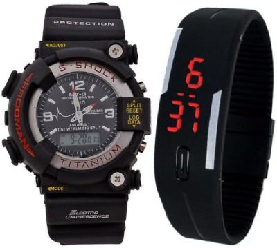 Uneque trend s shock big black+black led0202 latest s shock big black dial dual time analog digital + black LED digital watch for men and boys (pack of 2) Watch  - For Men