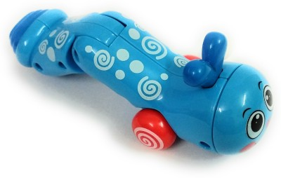 DINAARKAN TWISTY BLUE CATERPILLAR RATTLE TOY WITH CRAWL ACTION Rattle(Blue)