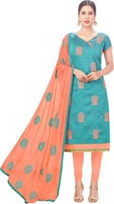 Blissta Cotton Embroidered Salwar Suit Dupatta Material(Un-stitched)