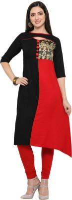 Saara Solid, Printed Women Straight Kurta(Red, Black)