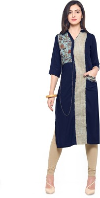 Saara Solid, Printed Women Straight Kurta(Blue, Beige)