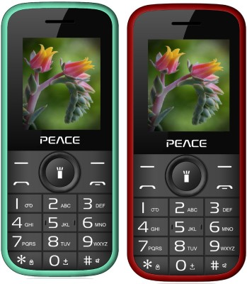 Peace P3 Combo of Two Mobiles(Green $$ Black & Red $$ Black)