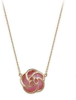 "Fabula Pink Opal AAA Swiss Zirconia Rose Motif Gold Plated \""Stellar Fine Jewels Collection\"" 18K Yellow Gold Cubic Zirconia Alloy Pendant"