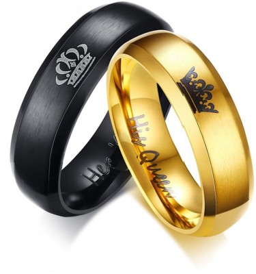 Yellow Chimes Crown Engraved 'King Queen'' Proposal Couple Rings Stainless Steel Brass Plated Ring at flipkart