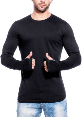 wearza Solid Men's Round Neck Black T-Shirt