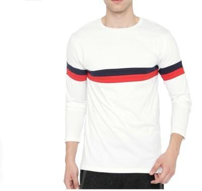 Wearza Striped Men Round Neck White T-Shirt