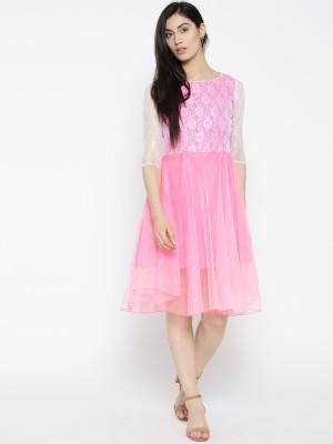 U&F Women Fit and Flare Pink Dress