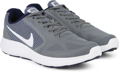 Nike REVOLUTION 3 Running Shoes For Men(Grey, Navy) 1