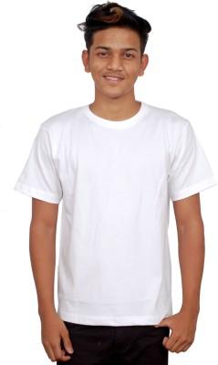 iTRENDII Solid Men's Round Neck White T-Shirt