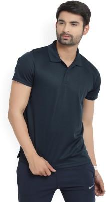 Lotto Solid Men Polo Neck Black T-Shirt at flipkart