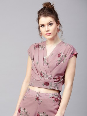 Sassafras Casual Short Sleeve Floral Print Women Red, Pink Top