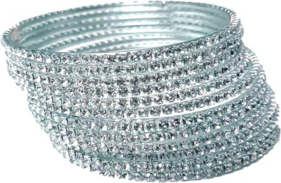 anmol ratan Metal Crystal 800 Silver Bangle Set(Pack of 12)  available at flipkart for Rs.110