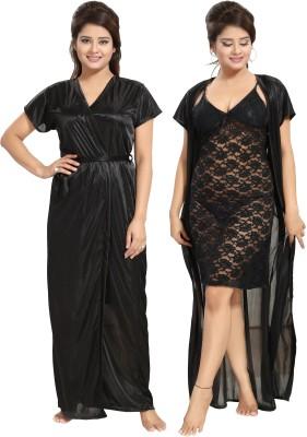 Noty Women Nighty with Robe(Black)