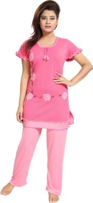 Noty Women Embroidered Pink Top & Pyjama Set