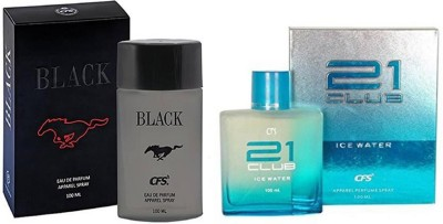 CFS Perfume CFS Black Perfume 100 ML + CFS 21 Club Ice Water Perfume 100 ML Perfume  -  200 ml(For Men & Women)  available at flipkart for Rs.649