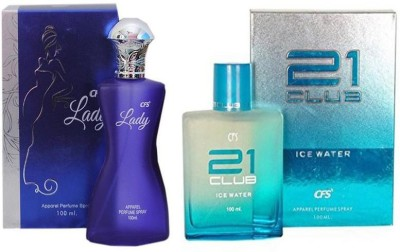CFS Perfume CFS Lady Perfume 100 ML + CFS 21 Club Ice Water Perfume 100 ML Perfume  -  200 ml(For Men & Women)  available at flipkart for Rs.649