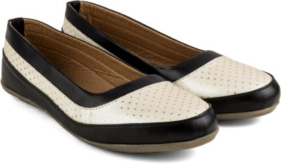 Tashi Women Black & White Synthetic Leather Belly/ Ballet Flat/ Belly Shoes- 40 Casuals For Women(Black)