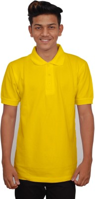 iTRENDII Solid Men's Polo Neck Yellow T-Shirt