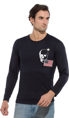 Alan Jones Applique, Printed Men Round Neck Dark Blue T-Shirt